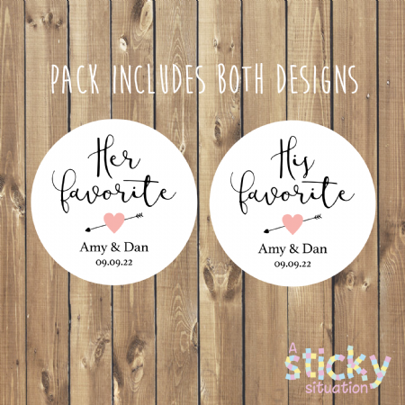 Personalised 'His Favourite' & 'Her Favourite' Wedding Favour Stickers